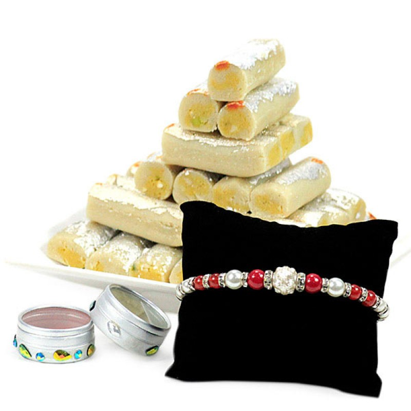 Kaju Roll n Beaded Rakhi Hamper