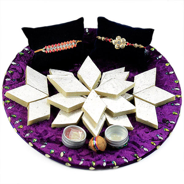 Kaju Barfi with Traditional Rakhis