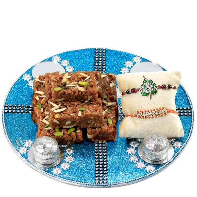 Traditional Rakhi n Dodha Barfi Hamper