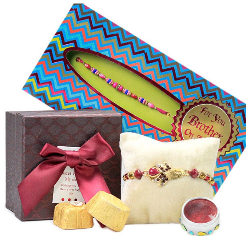 Traditional Rakhi n Yummy Chocolates Hamper
