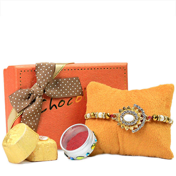 Beautiful Rakhi n Chocolates Hamper