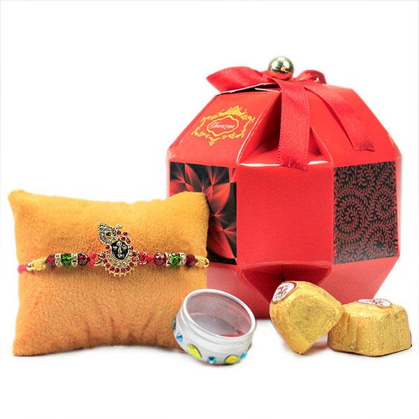 Lord Krishna Rakhi n Chocolates Hamper
