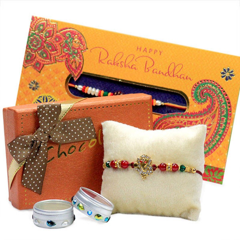Ganesha Rakhi n Chocolates Hamper