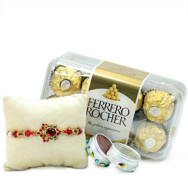 Traditional Rakhi n Ferrero Rocher Hamper