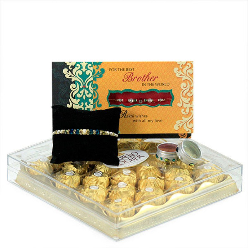 Ferrero Rocher n Beaded Rakhi Hamper