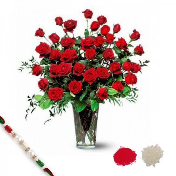 30 Red Roses with Rakhi