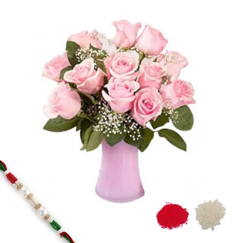 Baby Pink Roses with Rakhi