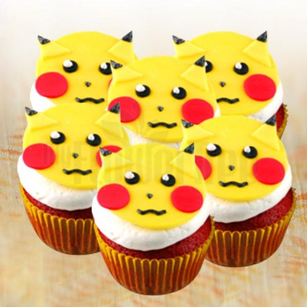 Set of 4 Pikachu Chocolate Fondant Cupcakes