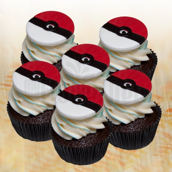 Set of 4 Pokeball Fondant Chocolate Cupcakes