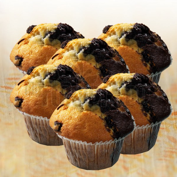Set of 6 Blueberry and Chocolate Muffins