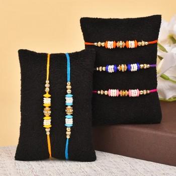 Set of 5 Colorful Rakhis
