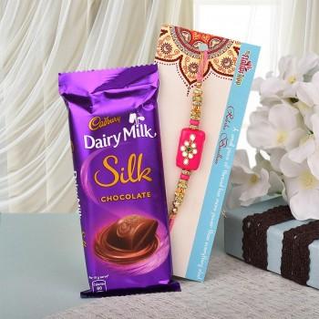Kundan Rakhi N Chocolate Combo