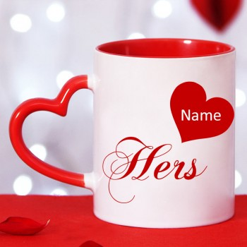 Personalised Name Printed Red Heart Handle Coffee Mug for Her