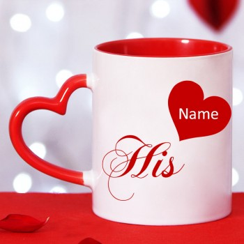 Personalised Name Red Heart Handle Coffee Mug for Him