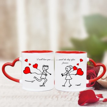 Heart Handle Mugs for Couple