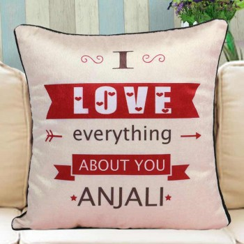Personalised Name Cushion with Love Quote Printed