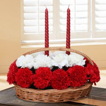 20 Carnations ( White and Red) with Cane Basket with Handle and 2 Spiral Candles