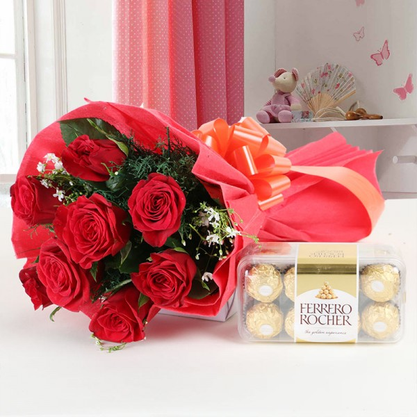 8 Red Roses with 16 pcs Ferrero Rocher Chocolates