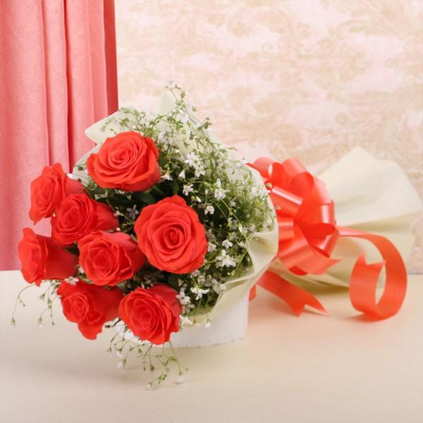 8 Orange Roses in Paper Packing