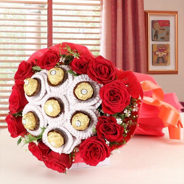 12 Red Roses with 7 pcs Ferrero Rocher