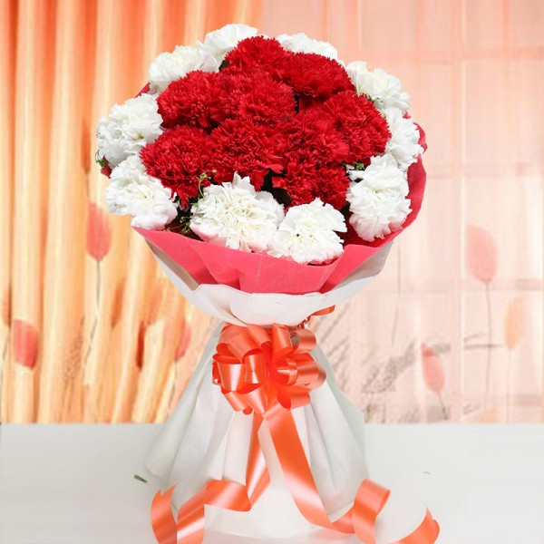Mixed Carnations Bouquet in Paper Packing