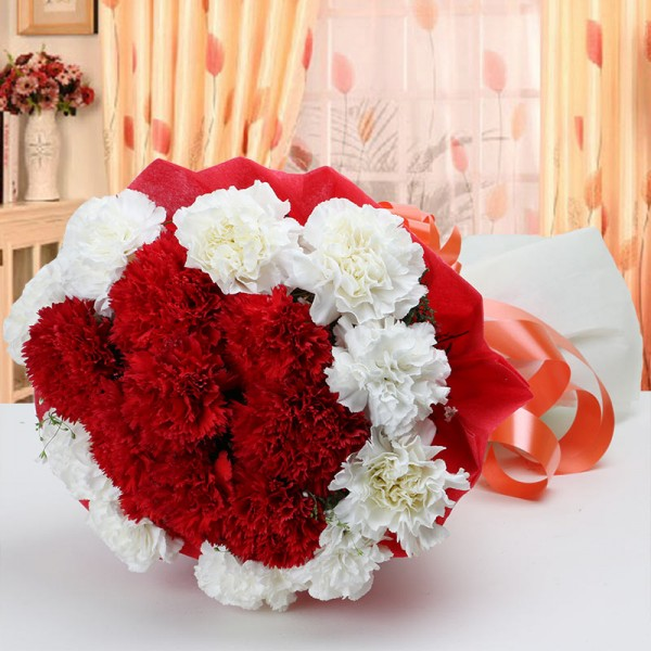 20 Red and White Carnations with Red and White Paper