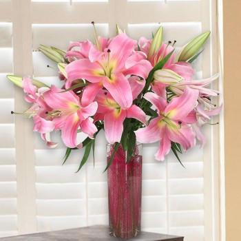 Light Pink Lilies Vase