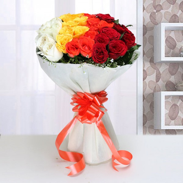 Mixed Roses Bouquet in Paper Packing