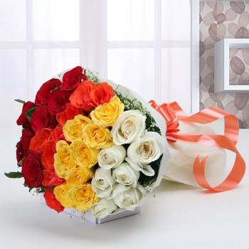 30 Roses ( White, Yellow, Orange and Red) in Paper Packing