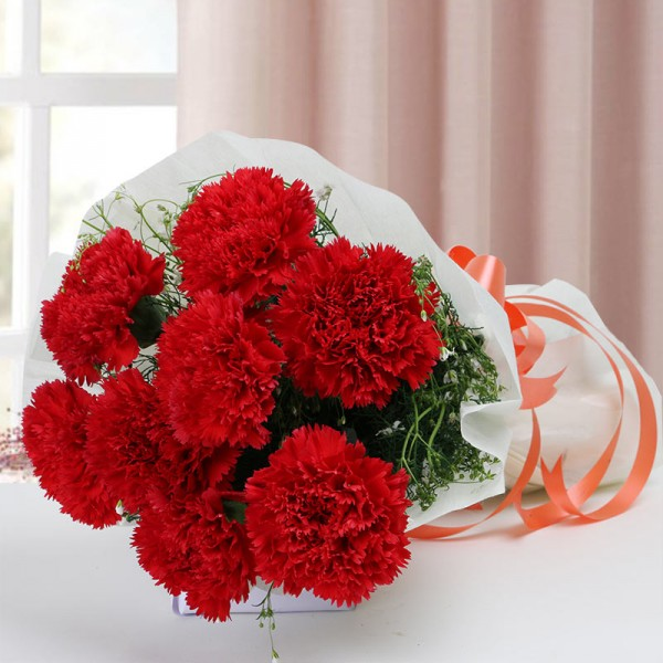 8 Red Carnations with White paper