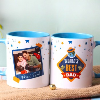 One Personalised Ceramic Blue Handle Coffee Mug for Dad
