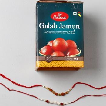 Yummy Gulab Jamun Combo With 2 Rakhis