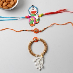 Set Of 3 Appealing Rakhis And Almonds Combo