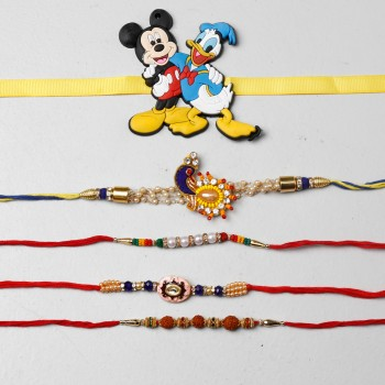 4 Designer And 1 Kids Rakhi Set