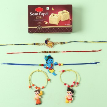 Assorted 5 Rakhi Set And Soan Papdi