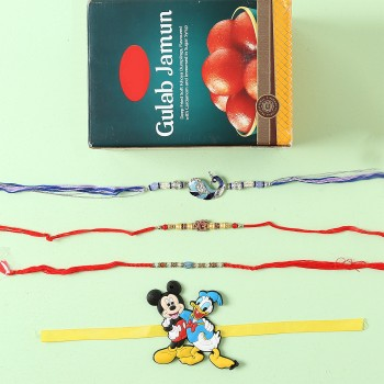 Designer And Kids Rakhi Set With Gulab Jamun