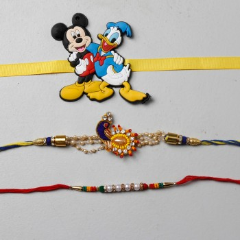 Colorful Designer And Kids Rakhi Set