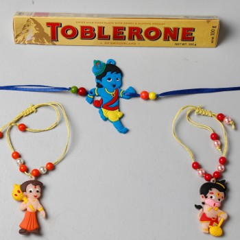 3 Kids Rakhi And Toblerone Chocolate Combo