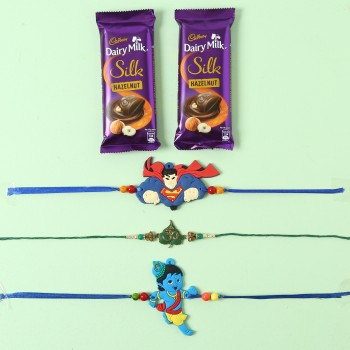 Cheerful Kids Rakhi And Cadbury Silk Chocolates