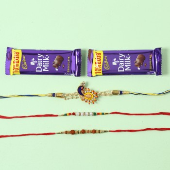 Dairy Milk And Set Of 3 Designer Rakhis