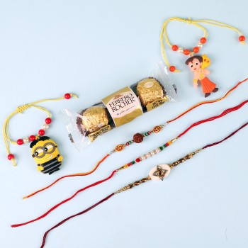 Beautiful Rakhi Set And Ferrero Rocher Combo