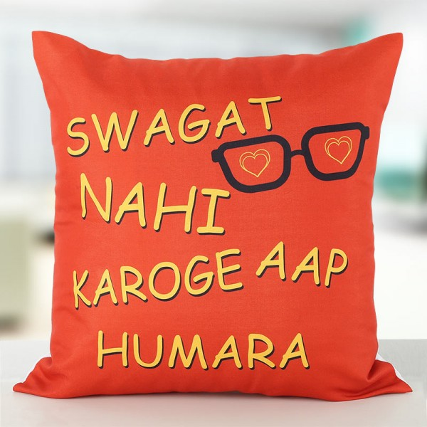 Funky Quote Printed Cushion