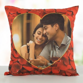 One Personalised Photo Rose Pattern Cushion