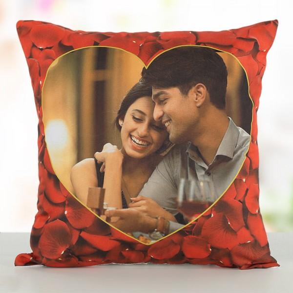 Personalised Photo Rose Petals Designer Cushion