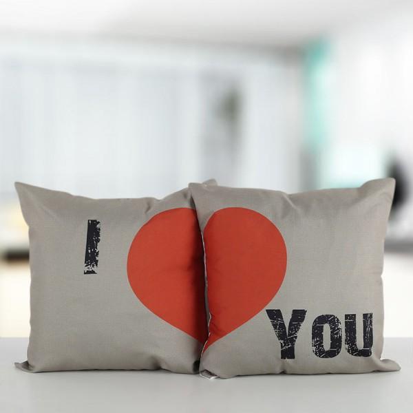 I Love You Printed Couple Cushion Combo