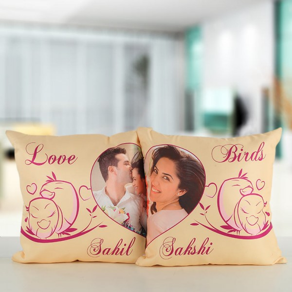 Set of 2 Personalised Cushions for Couple