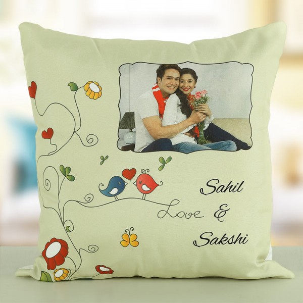 Personalised Name and Photo Printed Cushion for Boyfriend Girlfriend