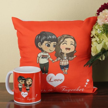 Cute Couple Printed Cushion and Mug Combo
