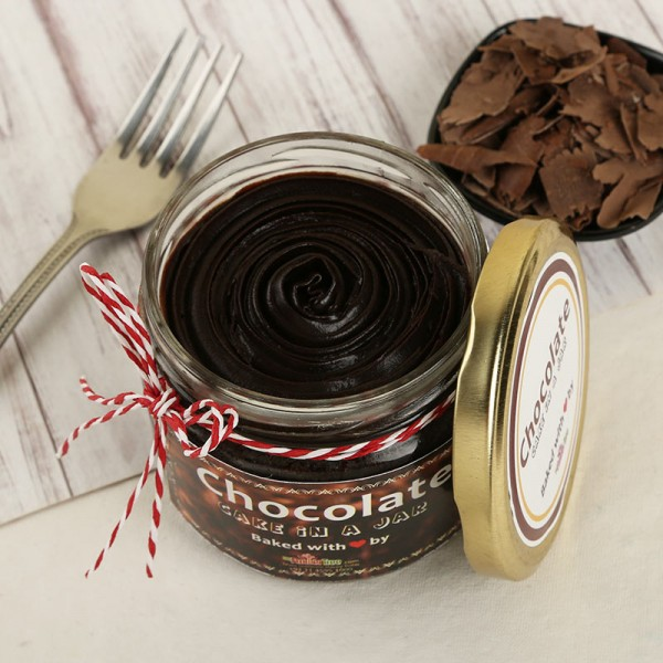 Rich Chocolate Cake in a Jar. Front view!