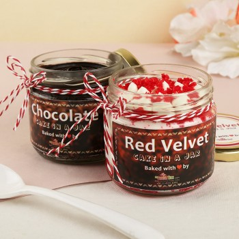 Combo of Red Velvet and Chocolate Jar Cake